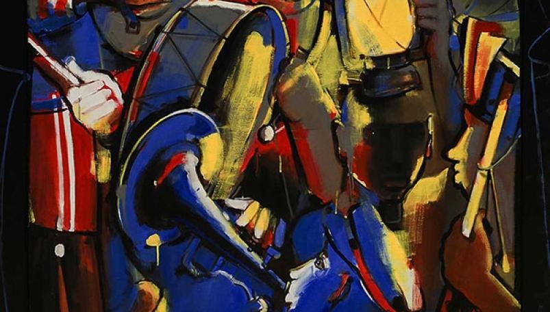 Colorful acrylic art on canvas